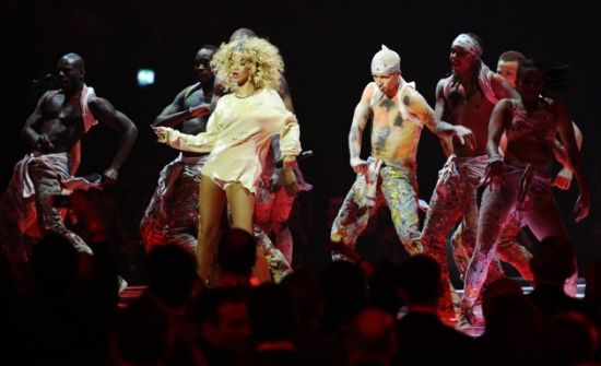 Rihanna performs during the BRIT Music Awards at the O2 Arena in London February 21, 2012. REUTERS/Dylan Martinez