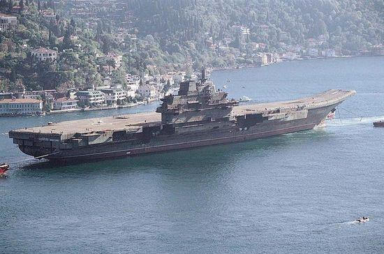 The hulk of the Varyag, the future Liaoning, under tow in Istanbul in 2001. (File photo)