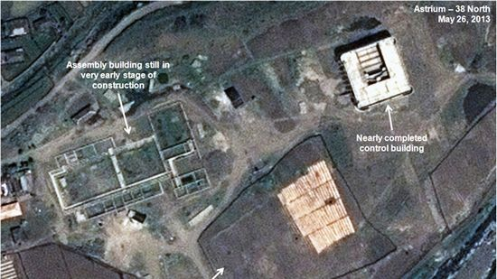 This May 26, 2013 satellite image taken by Astrium, and annotated and distributed by 38 North shows an unfinished new missile assembly building, top left, and control center, top right, at the Tonghae facility in North Korea.