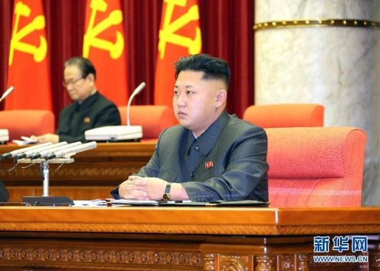 This picture taken by North Korean paper Rodong Sinmun on December 8, 2013 and released by KCNA on December 9 shows North Korean leader Kim Jong-Un (C) attending the enlarged meeting of the Political Bureau of the Central Committee of the Workers' Party of Korea (WPK) in Pyongyang. The Political Bureau convened its enlarged meeting and discussed the issue related to the anti-party factional acts committed by Kim Jong-Un's uncle Jang Song-Thaek. North Korea confirmed that the powerful uncle of the nation's young leader Kim Jong-Un has been purged, accusing him of being a corrupt, drug-using womaniser in a move analysts said cements Kim's grip on power. [Photo: Xinhua]