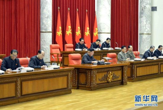 This picture taken by North Korea's official Korean Central News Agency (KCNA) on December 8, 2013 and released on December 9 shows North Korean leader Kim Jong-Un (C) attending the enlarged meeting of the Political Bureau of the Central Committee of the Workers' Party of Korea (WPK) in Pyongyang. The Political Bureau convened its enlarged meeting and discussed the issue related to the anti-party factional acts committed by Kim Jong-Un's uncle Jang Song-Thaek. North Korea confirmed that the powerful uncle of the nation's young leader Kim Jong-Un has been purged, accusing him of being a corrupt, drug-using womaniser in a move analysts said cements Kim's grip on power. [Photo: Xinhua]