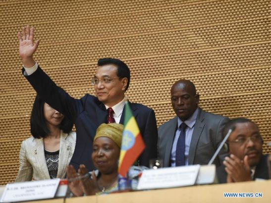 Chinese Premier Li Keqiang delivers a speech at African Union (AU) Conference Center in Addis Ababa, Ethiopia, May 5, 2014. (Xinhua/Wang Ye)