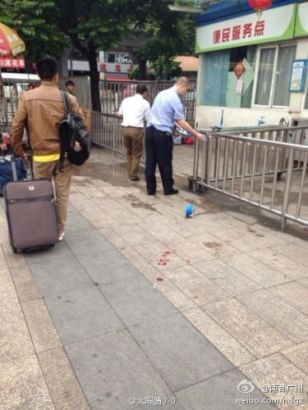 Blood stains on the ground of Guangzhou Railway station