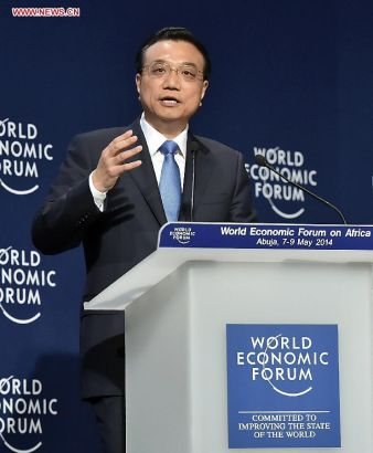 Chinese Premier Li Keqiang delivers a speech at the World Economic Forum on Africa in Abuja, Nigeria, May 8, 2014. (Xinhua/Li Tao)