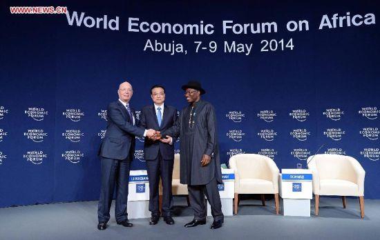 Chinese Premier Li Keqiang (C) attends the World Economic Forum on Africa in Abuja, Nigeria, May 8, 2014. (Xinhua/Li Tao)