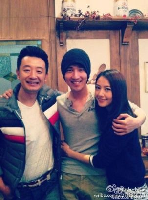 Actor Huang Haibo(L) with Mark Zhao and Gao Yuanyuan