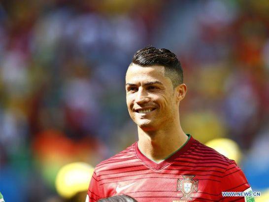 Portugal's Cristiano Ronaldo reacts before a Group G match between Portugal and Ghana of 2014 FIFA World Cup at the Estadio Nacional Stadium in Brasilia, Brazil, June 26, 2014. (Xinhua/Liu Bin)