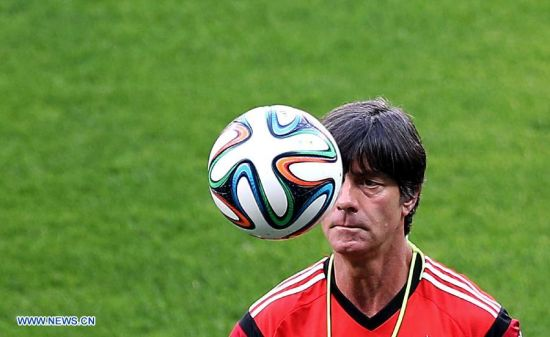Joachim Loew, head coach of Germany reacts ahead of a training session in Belo Horizonte, Brazil, on July 7, 2014. Germany will play Brazil in their 2014 World Cup semifinal here on July 8. (Xinhua/Li Ming)