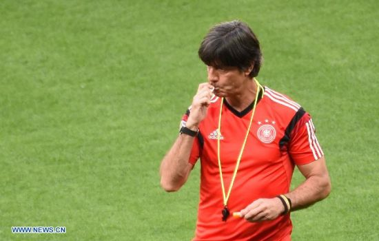 Joachim Loew, head coach of Germany is seen ahead of a training session in Belo Horizonte, Brazil, on July 7, 2014. Germany will play Brazil in their 2014 World Cup semifinal here on July 8. (Xinhua/Li Ga)