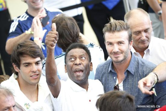 Kaka, Pele, and David Beckham are seen before the final match between Germany and Argentina of 2014 FIFA World Cup at the Estadio do Maracana Stadium in Rio de Janeiro, Brazil, on July 13, 2014. (Xinhua/Liao Yujie)