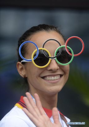 Spain's basketball player Lucla Togores Carpintero poses for photo at the Youth Olympic Village in Nanjing, east China's Jiangsu Province, August 14, 2014. Nanjing 2014 Youth Olympic Games will be held from August 16 to 28. (Xinhua/Purbu Zhaxi)