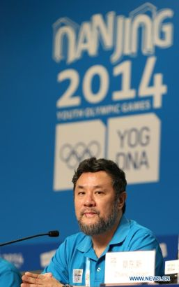 Chen Weiya, director of the closing ceremony, attends the press conference at the Main Media Center during the 2014 Nanjing Youth Olympic Games in Nanjing, capital of east China's Jiangsu Province, on Aug. 26, 2014. The Press Conference introduces the preparation work of the closing ceremony. (Xinhua/Cao Can)