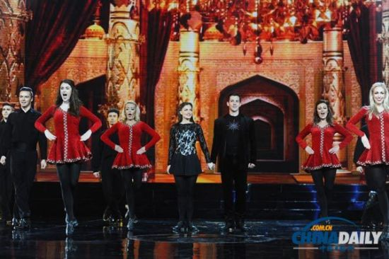 Artists perform riverdance at the opening ceremony of the 10th China Golden Eagle TV Art Festival in Changsha, Hunan province on Oct 10, 2014.