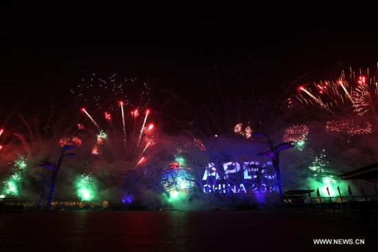 A fireworks show is staged at the Olympic Park in Beijing, capital of China, Nov. 10, 2014. The 22nd Asia-Pacific Economic Cooperation (APEC) Economic Leaders' Meeting takes place in Beijing from Nov. 10 to 11. (Xinhua/Yin Gang)