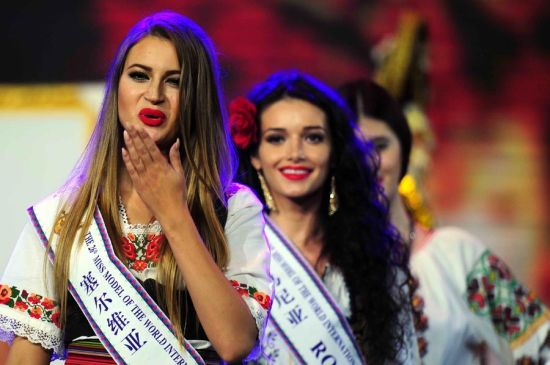 Miss Serbia attends the Miss Model of the World China Final in Shenzhen, Guangdong province on Nov 16, 2014. The Miss Model of the World International Grand Final will be held on Nov 29.