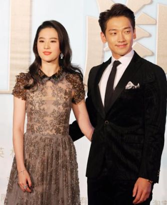 Liu Yifei and Rain attend the Beijing press conference to promote their romance production For Money Or Love.