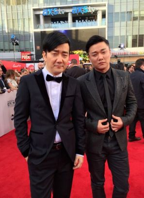 Musical act The Chopstick Brothers arrive at the 42nd American Music Awards in Los Angeles, California November 23, 2014.