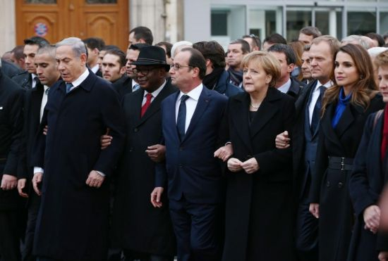 : Israeli Prime Minister Benjamin Netanyahu, French President Francois Hollande, German Chancellor Angela Merkel and Queen Rania of Jordan attend a mass unity rally following the recent Paris terrorist attacks on January 11, 2015 in Paris, France. An estimated one million people have converged in central Paris for the Unity March joining in solidarity with the 17 victims of this week's terrorist attacks in the country. French President Francois Hollande led the march and was joined by world leaders in a sign of unity. The terrorist atrocities started on Wednesday with the attack on the French satirical magazine Charlie Hebdo, killing 12, and ended on Friday with sieges at a printing company in Dammartin en Goele and a Kosher supermarket in Paris with four hostages and three suspects being killed. A fourth suspect, Hayat Boumeddiene, 26, escaped and is wanted in connection with th
