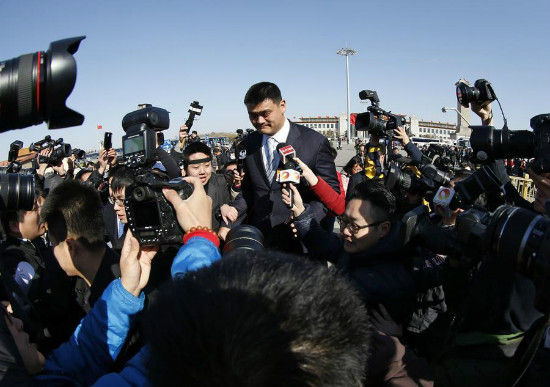 Former NBA player Yao Ming, also a delegate, arrives at the closing ceremony of the Chinese People's Political Consultative Conference (CPPCC) at the Great Hall of the People in Beijing, March 3, 2015. [Photo/Agencies]