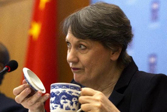 UNDP administrator Helen Clark attends a press conference in Beijing, Monday, May 4, 2015. Clark, the leader of the United Nations Development Program, praised China's relief efforts in Nepal and said the country's importance to global development will only grow.(AP Photo/Ng Han Guan)