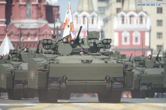 29BMP Kurganets-25 tracked platforms are seen during the military parade marking the 70th anniversary of the victory in the Great Patriotic War, in Moscow, Russia, May 9, 2015. (Xinhua/Jia Yuchen)