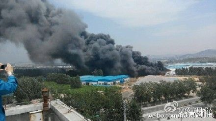 Photos uploaded on Weibo show thick smoke at the Yili Yili Diary co. Ltd in Jinan, capital city of Shandong province on May 13.