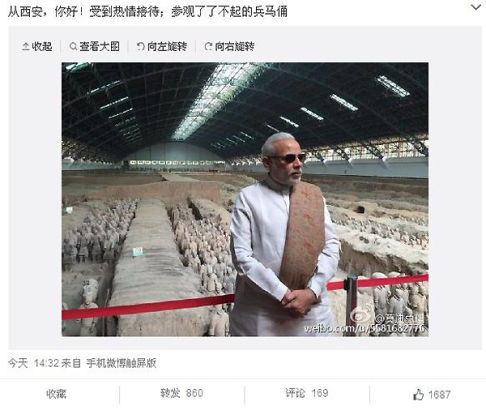 Indian Prime Minister Narendra Modi updated his first Weibo post in China at 2:32, saying