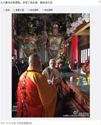 Indian Prime Minister Narendra Modi updated his second Weibo post in China, saying