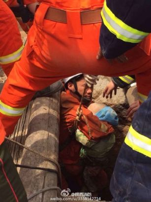 The boy was rescued out by firefighters.