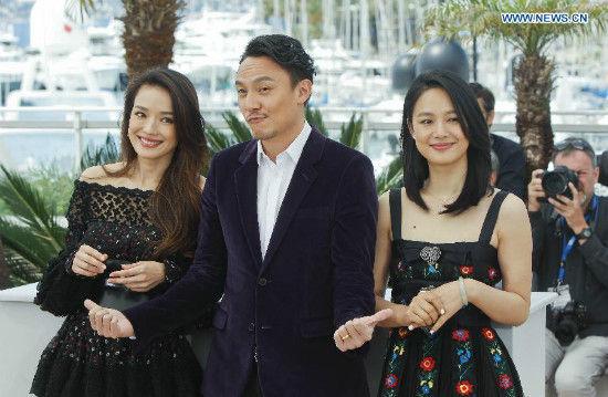 Cast members Shu Qi (L), Chang Chen (C) and Zhou Yun of the film