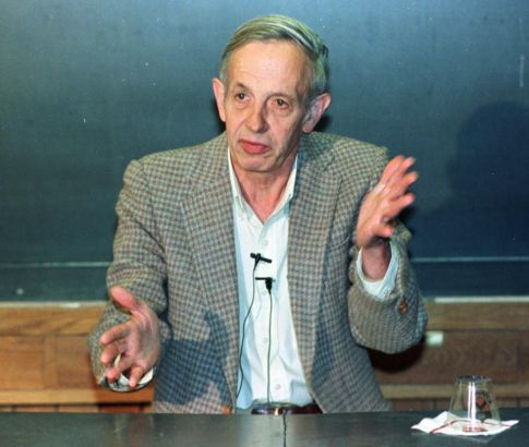 FILE - In this Oct. 11, 1994 file photo, Princeton University professor John Nash speaks during a news conference at the school in Princeton, N.J., after being named the winner of the Nobel Peace Prize for economics. Nash, whose struggle with schizophrenia was chronicled in the 2001 movie