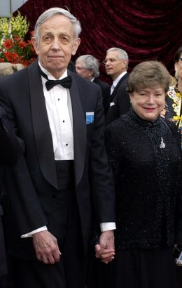 FILE - In this March 24, 2002 file photo, John Nash, left, and his wife Alicia, arrive at the 74th annual Academy Awards, in Los Angeles. Nash, the Nobel Prize-winning mathematician whose struggle with schizophrenia was chronicled in the 2001 movie
