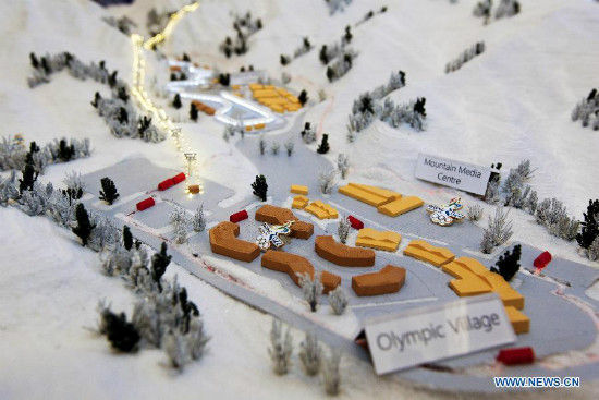 This photo shows a sandbox model at the expo of Beijing Candidate City's bid for the 2022 Winter Olympic games at the Palace hotel in Lausanne, Switzerland, on June 10, 2015. (Xinhua/Zhou Lei)