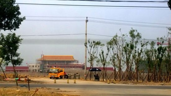 A replica of the Tian'anmen Gate Tower was seen almost finished in the military parade village.