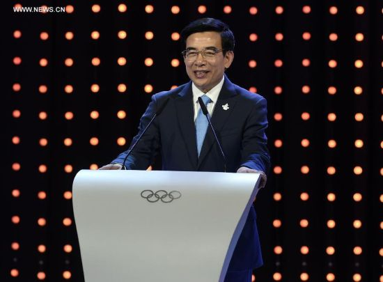 Wang Anshun, Beijing mayor and president of the Beijing 2022 Olympic Winter Games Bid Committee, delivers a speech during Beijing's 2022 Olympic Winter Games bid presentation at the 128th IOC session in Kuala Lumpur, Malaysia, on July 31, 2015. The session will decide the host cities of the 2022 Olympic Winter Games and the 2020 Youth Olympic Winter Games. (Xinhua/Gong Lei)