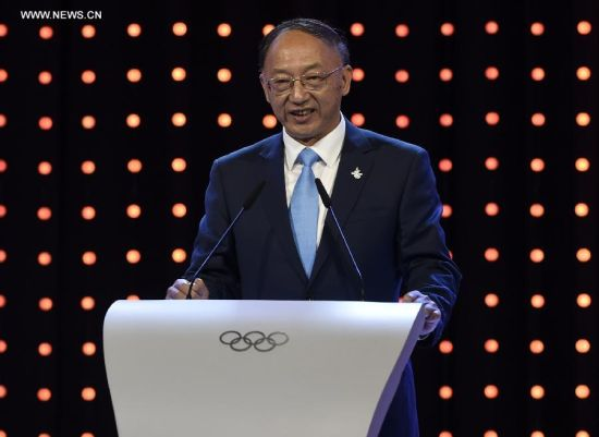 Liu Peng, president of the Chinese Olympic Committee and minister of the General Administration of Sport of China, delivers a speech during Beijing's 2022 Olympic Winter Games bid presentation at the 128th IOC session in Kuala Lumpur, Malaysia, on July 31, 2015. The session will decide the host cities of the 2022 Olympic Winter Games and the 2020 Youth Olympic Winter Games. (Xinhua/Gong Lei)