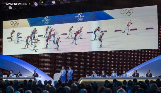 Li Nina, two-time Olympic medalist and three-time world champion of freestyle skiing and Beijing 2022 ambassador, delivers a speech during Beijing's 2022 Olympic Winter Games bid presentation at the 128th International Olympic Committee (IOC) session in Kuala Lumpur, Malaysia, on July 31, 2015. The session will decide the host cities of the 2022 Olympic Winter Games and the 2020 Youth Olympic Winter Games. (Xinhua/Lui Siu Wai)