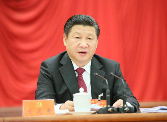 Chinese President Xi Jinping, who is also general secretary of the Communist Party of China (CPC) Central Committee, speaks at the Fifth Plenary Session of the 18th Communist Party of China (CPC) Central Committee, in Beijing, capital of China. The meeting was held from Oct. 26 to 29 in Beijing. (Xinhua/Lan Hongguang)