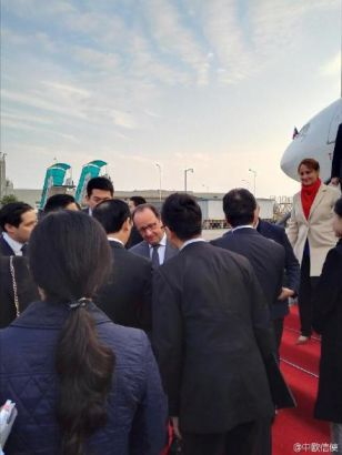 French president Hollande arrives in SW China's Chongqing