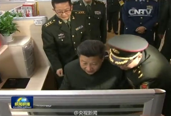Chinese President Xi Jinping typed his first Weibo post during an inspection visit to the military newspaper People's Liberation Army (PLA) Daily on Friday, December 25, 2015.