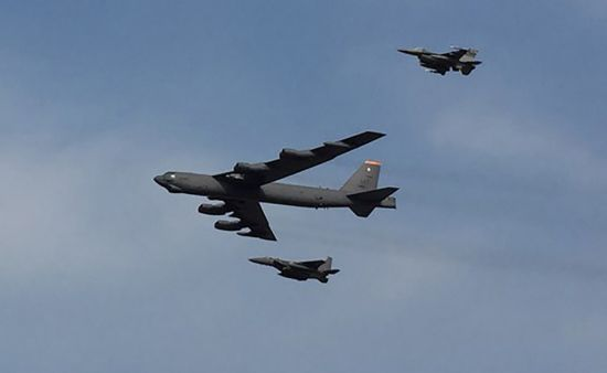 A US B-52 Stratofortress, capable of carrying nuclear weapons, flew over the Osan Air Base, some 70 kilometres (45 miles) south of the inter-Korean border (AFP Photo/Jung Yeon-Je)