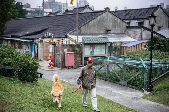 A man who used to live in the village walks back with his dog. New apartments have been built as the village went through remodeling. Settlement of the militant dependents' villagers is one of the hot issues during election times.