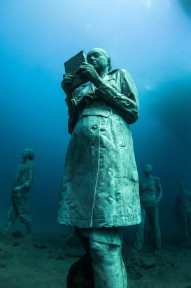 Europe's first underwater museum, Museo Atlantico, has been built 15 meters under the water surface in Lanzarote, Spain. British artist Jason deCaires Taylor has created a series of statues based on different people. He had started producing underwater artworks since 2006. These figures standing on the seabed help to raise awareness of global warming and the uprising sea level, according to the Guardian.