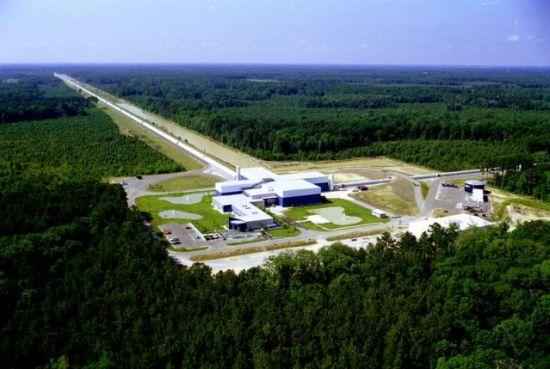 An aerial photo shows Laser Interferometer Gravitational-wave Observatory (LIGO) Livingston Laboratory detector site near Livingston, Louisiana in this undated photo released by Caltech/MIT/LIGO Laboratory on February 8, 2016.