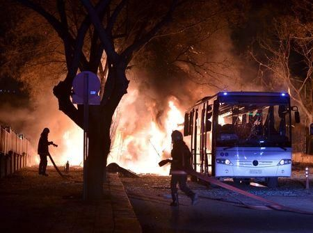 Cars of emergency services arrive after an explosion in Ankara, Turkey February 17, 2016. REUTERS/Umit Bektas