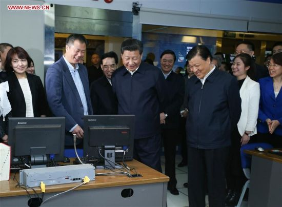BEIJING, Feb. 19, 2016 (Xinhua) -- Chinese President Xi Jinping makes a video call to China Central Television's (CCTV) Washington-based North America branch, at CCTV headquarters in Beijing, capital of China, on Feb. 19, 2016. Xi on Friday visited the People's Daily, Xinhua News Agency and CCTV, the nation's three leading news providers. (Xinhua/Ma Zhancheng) |<< 11 12 13 14 15 16 17