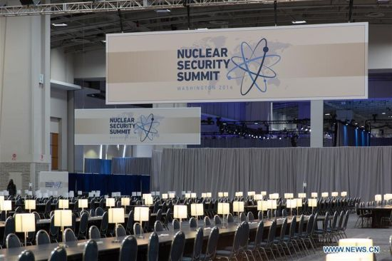 Photo taken on March 30, 2016 shows the International Media Center at the Walter E. Washington Convention Center in Washington, D.C., United States, March 30, 2016. The Nuclear Security Summit 2016 will be held here from March 31 to April 1. (Photo: Xinhua/Li Muzi)