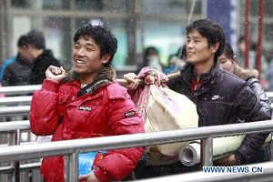 Happy passengers at Shanghai railway station