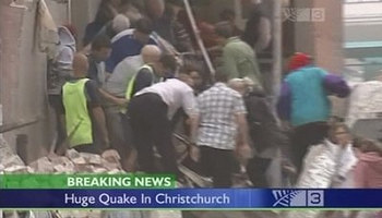 Rescuer makes rescue operation after deadly quake