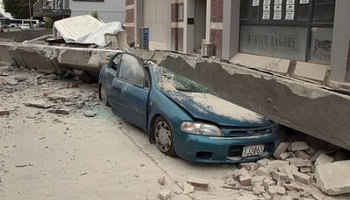 Car is crushed by beam in central Christchurch